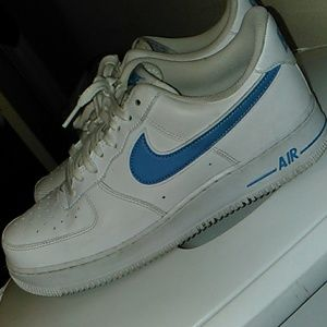 White air force one baby blue swoosh